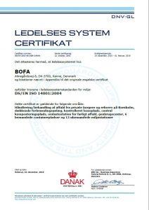 DNV certificat for Bofas miljøledelsessystem
